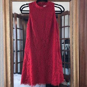 Red lace a-line cocktail dress